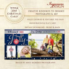 Christmas Card Photoshop Template - Winge 2015 Christmas 4x8 Horizontal Card - pinned by pin4etsy.com