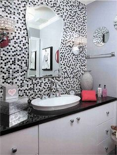 Contemporary and Modern Lighting, whimsical black and white powder room.