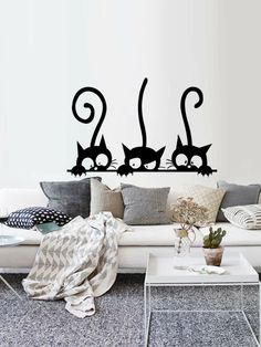 Three Funny Cats Animal Wall Sticker Household Room PVC Window Decals Mural DIY Decoration Removable Wall Stickers Home Decor Kitchen Wall Stickers, Wall Stickers Home Decor, Wall Stickers Murals, Vinyl Wall Decals, Vinyl Art, Wall Painting Decor, Wall Art Decor, Diy Living Room Decor, Bedroom Decor