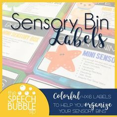 Speech Language Pathologists, you need this FREE resource!!! Use these colorful 4x6 labels to help you organize your sensory bins in your classroom or therapy room! #organization #SPD #SLP #therapy #classroom #student #SPED #BackToSchool