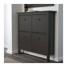 IKEA - HEMNES, Shoe cabinet with 4 compartments, black-brown, , Helps you organize your shoes and saves floor space at the same time.In the shoe cabinet your shoes get the ventilation and the space they need to keep them like new longer.The cabinet only has legs at the front so it can stand close up to the wall above the skirting-board.