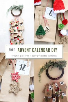 Advent calendar DIY - Make your own special advent this Christmas, filled with treats and decorated with mini crochet Christmas decorations. Christmas Crafts For Adults, Crochet Christmas Decorations, Homemade Christmas Gifts, Holiday Crafts, Christmas Holidays, Holiday Ideas, Winter Holiday, Happy Holidays, Christmas Ideas