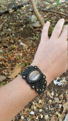 macrame bracelet, dark green bracelet, agate gemstone, boho bracelet, macrame jewelry, tribal bracelet, handmade, micro macrame, brass beads