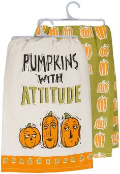 'Pumpkins with Attitude' Dish Towel - Set of Two | #apartmentdecor #halloweendecor #kitchendecor #falldecor #afflink