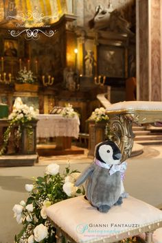 Joe and Jeannie with their lucky penguins at their wedding in Rome!!! www.weddingsinrome.com