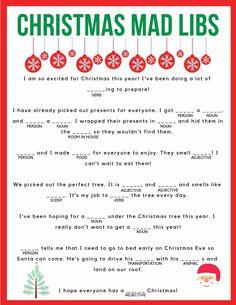 Impeccable image for printable christmas mad libs