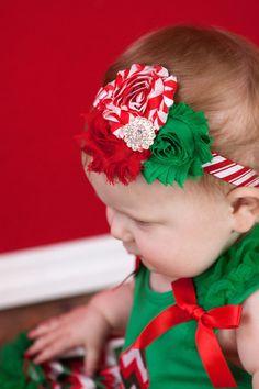 Christmas  Headband Shabby chic Red and  Green flower baby headband newborn girl on Etsy, $8.95