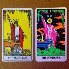 Occult Training Wheels — The insanely talented Oliver Hibert is in the. Rider Waite Tarot, Black Light Posters, Tarot Major Arcana, Tarot Card Decks, Funky Art, Hippie Art, Posca, Art Series, Psychedelic Art