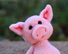 Needle Felted Wool Pig by TheWoollyPear on Etsy