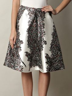 BALENCIAGA - Leaves-print silk skirt
