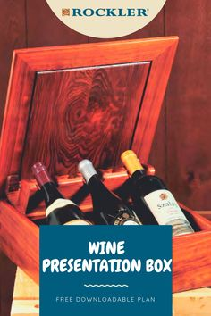 """Special beverages given as a gift deserve a special presentation. This box features a unique mechanism that literally """"pops up"""" three wine bottles as the lid is opened. Download this plan for free and build your own here! #createwithconfidence #winebox #freewoodworkingplan #woodworkersjournal #box Beginner Woodworking Projects, Diy Woodworking, Workshop Organization, Wood Working For Beginners, Wine Bottles, Crafts To Sell, Diy Gifts, Wedding Gifts, Beverages"""