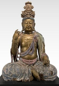 Figure of Maitreya, China, Ming Dynasty (1368-1644), Painted wood, 74 in. high. Heather James Fine Art