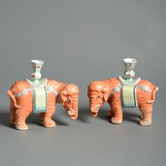 A Pair of Porcelain Elephant Candle Holders.China.c.1880.