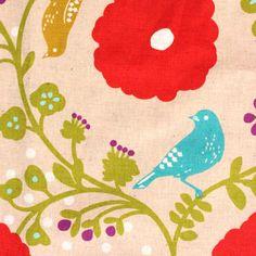 "1 Yard Echino Peach and bright Coral bird vine fabric 60"" width"