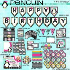 PENGUIN PARTY PRINTABLE COLLECTION http://mimisdollhouse.com/product/penguin-party-collection/  #Penguin #Penguins #PenguinParty #BirthdayParty