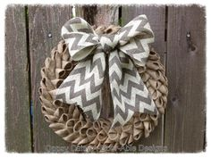 "16"" petal burlap wreath with chevron burlap bow, shabby chic burlap bubble wreath, year around wreath, burlap wreath"