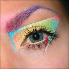 abstract colourful eye makeup and brows as a result of playing around!