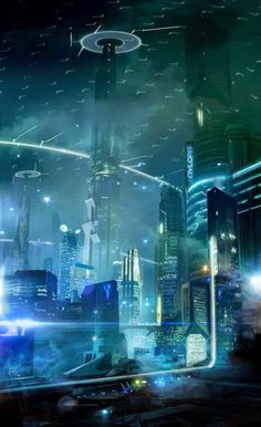 #future #futuretech #scifi #cyberpunk #city #cityview #citylights #art…