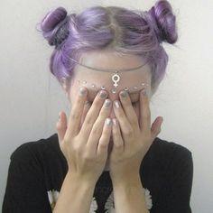 Pastel goth style buns
