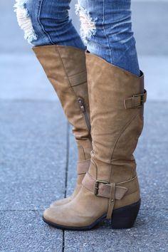 NanaMacs Boutique - Strap Me Up Heel Boots (Nude), $54.00 (http://www.nanamacs.com/strap-me-up-heel-boots-nude/) #boots, #tallboots