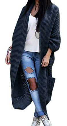 a0e560e9ce Damen-Strickjacke-Pullover-Pulli-Jacke-Oversize-Boho-S-M-L-