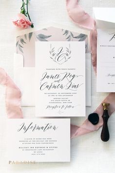 Carmen Soft Pink Calligraphy Wedding Invitation Sets