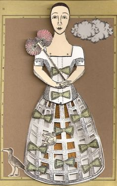 Card by Nancy Gene Armstrong working with stamps from Character Constructions She Sells Seashells collection.  Crinoline skirt from the French laundry collection. The bow is from the Bird & Bee Paperie collection (Miss Kitty Girl).