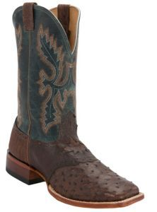 Cavender's® Men's Kango Tobacco Rustic Full Quill Ostrich w/Teal Top Saddle Vamp Double Welt Square Toe Exotic Western Boots | Cavender's