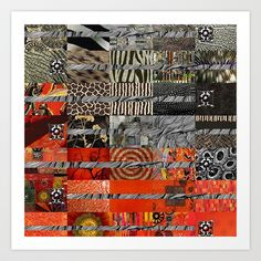 Black Red & Grey Abstract Art Collage Art Print by Sheree Joy Burlington - $18.00
