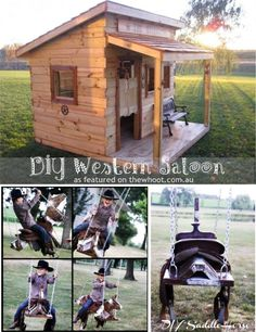 western saloon and horse saddle swing