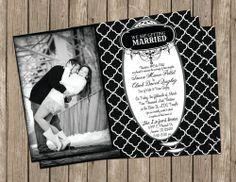 Black and White,Wedding Invitation, Digital file, Printable