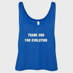 Thank God for evolution tshirt - Ladies' Cropped Tank Top