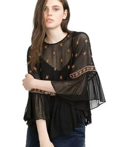 Cape Style Chiffon Embroidery Blouse