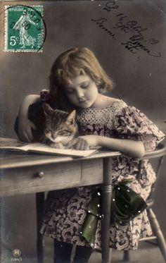 画像2: アンティークポストカード*猫とお勉強する少女