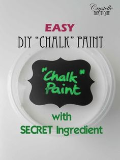 """DIY """"CHALK"""" paint w/ CORNSTARCH!!!! (She offered An alternative to sealing the furniture piece w/ glaze instead of the usual wax.)"""