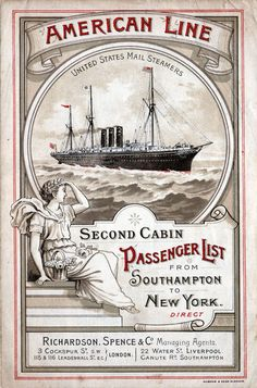 Second Cabin Passenger List for the 7 September 1895 voyage of the S.S. Paris of the American Line.