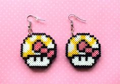 Mario Mushroom Earrings Customizable Colors Mini by 8BitEarrings