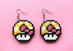 Mario Mushroom Earrings Customizable Colors Mini by 8BitEarrings