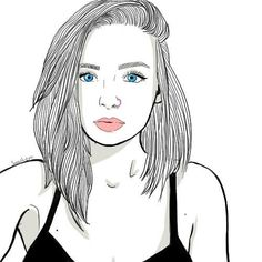 Medium haired girls are CUTE! Tumblr Girl Drawing, Tumblr Drawings, Pencil Art Drawings, Black And White Girl, Black And White Drawing, Tumblr Profile Pics, Girl Outlines, Tumblr Outline, Girly M