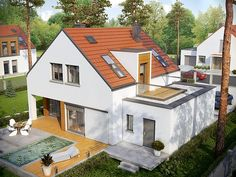 Projekt+Pedro+II+G1+Energo Small House Floor Plans, Family House Plans, Bungalow Extensions, House Extensions, Village House Design, Village Houses, Dormer Bungalow, Pedro Ii, Wooden House Design