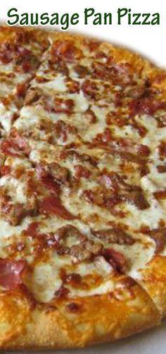 Sausage Pan Pizza Pizza Recipes, Appetizer Recipes, Cooking Recipes, Dinner Recipes, Appetizers, Good Pizza, Pizza Pizza, Pizza Party, Pizza Dough