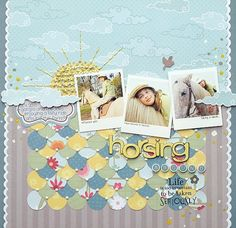 Scrapbook page layout.  Flower sun and circles.