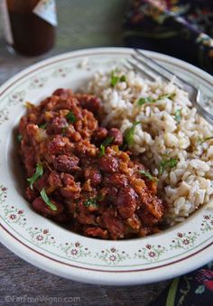 Beans and Rice By: FatFree Vegan Kitchen - I made this last night and Easy Red Beans and Rice By: FatFree Vegan Kitchen - I made this last night and . -Easy Red Beans and Rice By: FatFree Vegan Kitchen - I made this last night and . Veggie Recipes, Whole Food Recipes, Cooking Recipes, Healthy Recipes, Vegan Bean Recipes, Slow Cooking, Cooking Time, Microwave Recipes, Vegan Recipes Kidney Beans