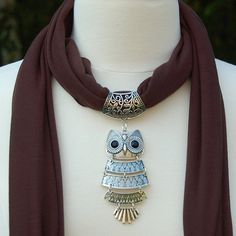 Scarf Pendant  Beautiful Silver Owl Scarf Slide by AzanteDesigns, $12.00
