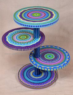 Mandala Side Table- Purples and Blues, Four Shelves- Custom Painted to Order