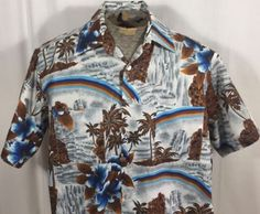 74faddae4 Vintage Hawaiian Aloha Shirt Brown Palm Trees Blue Flowers Waterfalls  Rainbow