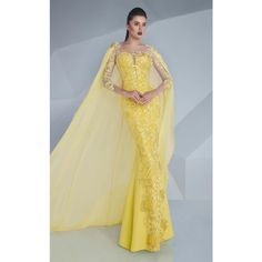 MNM Couture G0603 Red Carpet Dress Long Sleeve ($1,240) ❤ liked on Polyvore featuring dresses, gowns, formal dresses, yellow, long-sleeve maxi dress, formal evening gowns, long formal gowns, long-sleeve lace dresses and formal gowns