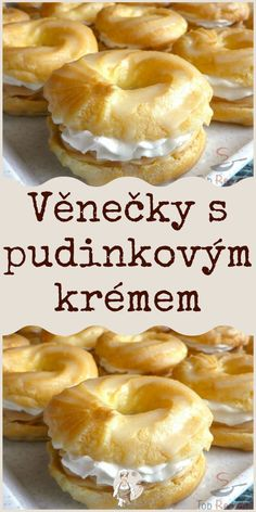Czech Desserts, Baking Recipes, Dessert Recipes, Czech Recipes, Mini Cheesecakes, Yummy Treats, Donuts, Food And Drink, Tasty