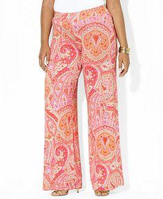 Lauren Ralph Lauren Plus Size Wide-Leg Paisley-Print Pants