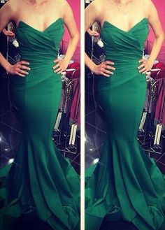 Off Shoulder Green Mermaid Dress